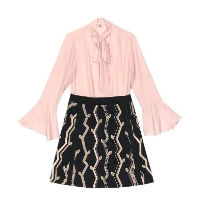 chiffon ribbon blouse & a line patterned skirt